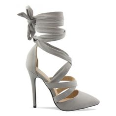 Penelope Grey Suede Tie Up Heels - HEELS : Simmi Shoes - Love Your Shoes!