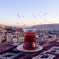 Enjoy a cup of a Turkish Tea with Scenic view from Cappadocia.