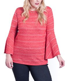 Another great find on #zulily! Heather Red Bell-Sleeve Crewneck Top  - Plus #zulilyfinds