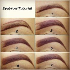 "how to fill your brows 1) Outline the bottom with eyebrow pencil. 2) Outline the top. 3) Fill in leaving a little bit blank. 4) Using an angled brush fill in with brown eyeshadow. 5) Remove excess of product on your brush and brushing upwards gently fill in the blank spot for a ""natural look"" 6) Using a concealer brush clean the edges with a little bit of concealer. 7) Blend in the concealer and you're done!"