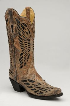 Corral Boots Women's Bronze & Black Sequence Crystal Butterfly Cowgirl Boots