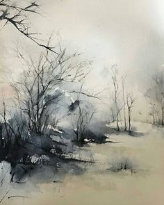 Art Hub - Community on ---By Robin Miller-Bookhout rmbook - Simplicity 20 Watercolour . Watercolor Landscape Paintings, Watercolor Trees, Abstract Watercolor, Watercolor And Ink, Winter Landscape, Landscape Art, Winter Drawings, Art Hub, Community Art