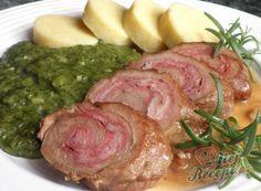 Telecí závitek s bramborovým knedlíkem Pork, Food And Drink, Meat, Healthy, Recipes, Kale Stir Fry, Recipies, Ripped Recipes, Health