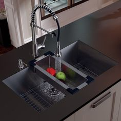 "32"" x 19"" Undermount Kitchen Sink with Faucet, Colander, Grid, Strainer and Dispenser"