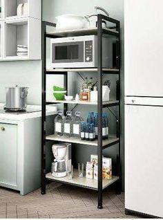 Kitchen Rack Design, Kitchen Storage, Metal Kitchen Shelves, Kitchen Racks, Steel Furniture, Home Furniture, Furniture Design, Microwave In Kitchen, Microwave Oven