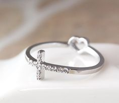 1piece Cross Ring Rearside Tiny Heart / Love Ring Best Friend Ring Jewelry #New #cross