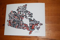 Our Home and Native Land - A Canadian First Nations Style Art Map of Canada - Various sized prints. Custom sizes available. Free Shipping.
