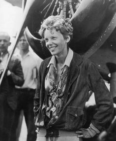 Amelia Earhart  (1897– disappeared 1937)   Earhart was the first woman to receive the U.S. Distinguished Flying Cross,  for becoming the first aviatrix to fly solo across the Atlantic Ocean.