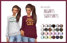 the sims 4 custom content by dani paradise, hogwarts sweatshirts (harry potter)