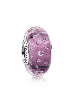 PANDORA Charm - Murano Glass, Sterling Silver & Cubic Zirconia Purple Effervescence   Bloomingdale's