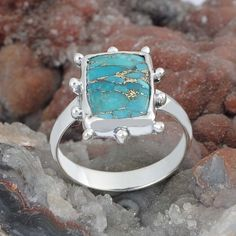 B C Turquoise SOLID 925 STERLING SILVER FANCY RING 4.17g DJR9561 SIZE-9 #Handmade #Ring