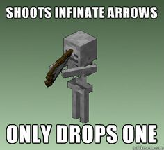 minecraft memes | Shoots infinate arrows only drops one Minecraft Skeleton Logic