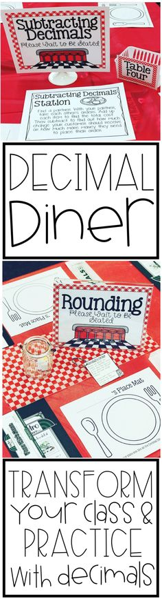 "Welcome to the Decimal Diner! Create a diner in your classroom to create a fun environment to practice decimals! This product includes four different stations for students to practice using decimals in a ""real"" environment. Students add, subtract, round and compare decimals!"