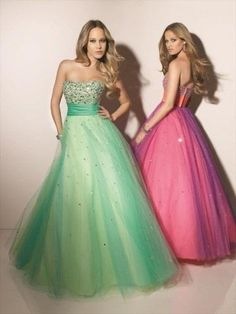 2013 Style A-line Sweetheart  Beading  Sleeveless Floor-length Tulle  Prom Dress