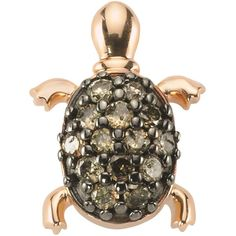Bee Goddess Happy & Lucky Brown Diamond Turtle Earring ($655) ❤ liked on Polyvore featuring jewelry, earrings, brown diamond earrings, aqua jewelry, bee goddess, earring jewelry and 14 karat gold stud earrings