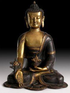 Antique Gilded Bronze Buddha Statue Medicine Buddha Bhaisajyaguru Origin: Nepal, Circa: early 1900s'