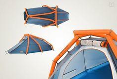 Voici The Wedge, conçue par Heimplanet, une tente à arceaux gonflables. L'idée était de réaliser une tente rapide et facile à mettre en place, avec une utilisation intuitive, tout en gardant une solidité et en évitant la prise au vent. Pari réussi, lisez plutôt.