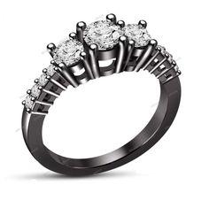 0.70 CT Round Cut D/VVS1 Diamond 925 Silver Women's Three Stone Engagement Ring #Affoin8 #WomensThreeStoneEngagementRing