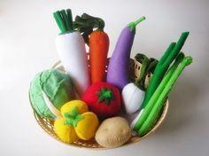 Lovely Vegetables Set 2 PDF Felt Pattern  (10 different vegetables inlcude)