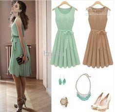 Atacado Vestidos Casual - Comprar H340 New Womens Luz verde sem mangas plissadas Cocktail Party Dress Tamanho: SML XL XXL XXXL, $ 18,18   DHgate