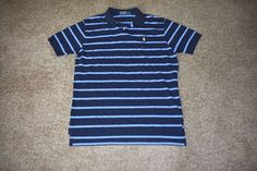 Ralph Lauren Mens Navy Blue Striped Cotton Polo Shirt W/ Yellow Pony Large L #RalphLauren #PoloRugby