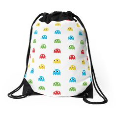 Drawstring Bag Pac-Man Ghosts Arcade Pattern by DonCorgi, apparel, gaming, geeky, #pacman #ghosts, retro, arcade