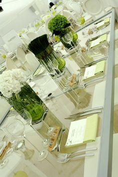 Modern green and white table scape. Perfect for a chic corporate event. Table Centerpieces, Wedding Centerpieces, Wedding Decorations, Table Decorations, Centrepieces, Wedding Ideas, Wedding Catering, Wedding Events, Weddings