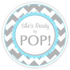 Baby Shower Ready to Pop labels, Gray and Blue Chevron, Ready to Pop Stickers, Baby Shower Labels on Etsy, $5.95