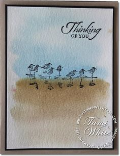 Stampin Up Wetlands stamp set. Color wash technique, water colouring