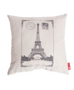 """""Paris Stamped"""" Decorative Linen Throw Pillow"