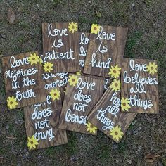 Wedding Aisle Signs Set of 10 Corinthians 13 Signs Love is Patient/Love is kind/Love never fails  Rustic Sunflower Wedding Signs by ThePeculiarPelican #etsyseller #etsyshop #woodensigns #customsigns #shopsmall #shopping #gifts #giftideas #porchsigns #weddingsigns #southernsigns #quotes #handmade #handpainted #signs http://ift.tt/2q2IxJn
