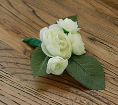 Silk Boutonniere - White Ranunculus Boutonniere. Stately boutonniere perfect for any wedding or special occasion. Three white ranunculus blooms with a hint of green. This simple and elegant Boutonniere features: Mini White Ranunculus Blooms Green Leaf Framing Custom Ribbon of your choice Ribbon can be customized according to your choice. For this boutonniere I personally recommend: Burlap twine, burlap canvas and tie, burgundy wine satin, white satin, green chiffon, organic brown twine…