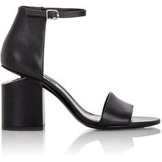 Alexander Wang Leather Abby Sandals ($450) ❤ liked on Polyvore featuring shoes, sandals, black, ankle tie sandals, black shoes, high heel sandals, black sandals and black ankle strap sandals