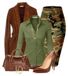 """""""CAMO PENCIL SKIRT"""" by arjanadesign ❤ liked on Polyvore featuring Forte Forte, LE3NO, Dooney & Bourke, Christian Louboutin, Gorjana and Kenneth Cole"""
