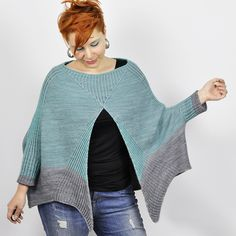 Is it a Poncho with T-Rex sleeves? Or a weirdly shaped cardigan? Knitting Designs, Knitting Patterns, Crochet Baby, Knit Crochet, Sport Weight Yarn, How To Purl Knit, Knit Cowl, Knit Picks, Knitting Accessories