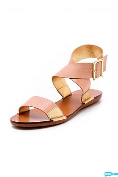 Why go nude when you can go nude and gold? Check out these sandals from Rachel's Spring 2013 collection.