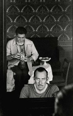 Robert Capa photographing John Steinbeck, Moscow, 1947