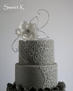 Ruffle silver cake - by Karla (Sweet K) @ CakesDecor.com - cake decorating website