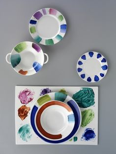Designer Paola Navone was inspired by the discarded swatch plates she found on the floors of Richard Ginori's Tuscan factory.