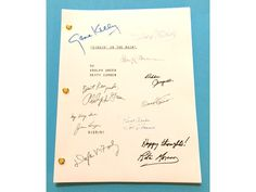 YOU ARE CONSIDERING A COLOR REPRODUCTION OF THE COMPLETE SCRIPT FOR: SINGIN' IN THE RAIN MOVIE 1952 SCREENPLAY BY BETTY COMDEN AND ADOLF GREEN DIRECTED BY GENE KELLY AND STANLEY DONEN PRODUCED BY ARTH