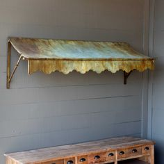 """Bronze and green patina awning Made of metal with an aged finish 72.5"""" length x 23.75"""" width x 23.25"""" height #farmhouse #farmhousedecor"""