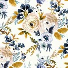 Victoria Floral blue mustard custom wallpaper by crystal_walen for sale on Spoonflower Perfect Wallpaper, Wallpaper Roll, Fabric Wallpaper, Mustard Wallpaper, Nursing Pillow Cover, Thing 1, Design 24, Nursery Bedding, Custom Wallpaper