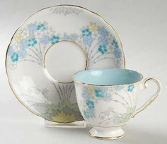 Antique Yamato Nippon China Gold Trim Green Floral Daisy Cup and ...