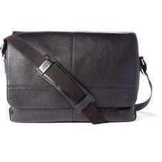 Bosca Black Seam Leather Messenger Bag ($190) ❤ liked on Polyvore featuring bags, messenger bags, leather courier bag, leather bags, bosca and leather messenger bag
