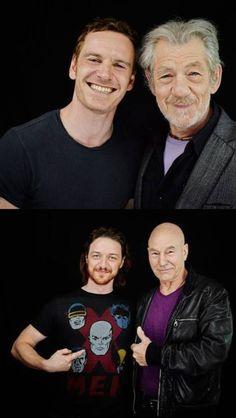 Michael Fassbender and Ian McKellen // James Mcavoy and Patrick Stewart