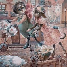 Bike ride Painting by numbers DIY oil digital canvas painting wall pictures for living room Cat Painting, Animal Art, Fantasy Art, Cat Art, Cute Art, Illustration Art, Art, Cross Paintings, Cat Drawing