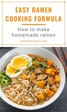 Cooking Formula: Ramen   With our easy ramen recipes, you can make delicious homemade ramen with simple ingredients (and even leftovers) you have on hand! Whether you prefer your noodles vegan, vegetarian, or with chicken or pork, you'll find countless ways to suit your taste with our ramen cooking formula. Enjoy!   CookSmarts.com Ramen Recipes, Asian Recipes, Recipies, Cooking On A Budget, Cooking Tips, Healthy Cooking, Healthy Dinner Recipes, How To Make Ramen, Homemade Ramen