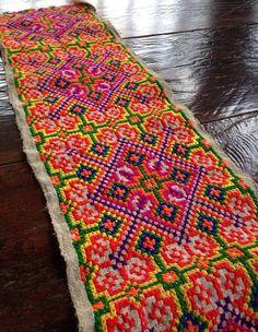 Vintage Hmong fabric Tribal hemp Cross Stitch by KutchiKooTribe