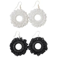 """Black and white """"PVC Round"""" earrings"""