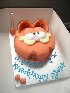 ~Elisabeth Yeck~ If I translated this to Spanish it would say feliz cumpleaños Garfield. (Well it would say feliz cumpleaños Ryan on the cake.) But I wanna say happy B-day Garfield so feliz cumpleaños Garfield. From ~Elisabeth Yeck.~